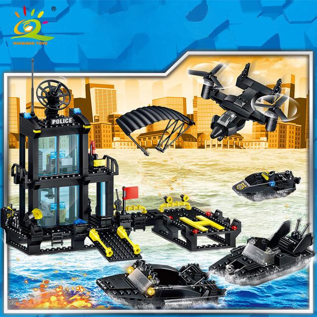 HUIQIBAO 631pcs CITY Marine Police Station Building Blocks boat plane Policeman figures Bricks set Educational Toys For Children