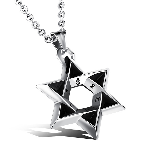 Star Of David Stainless Steel Pendant Men Necklace With Religious Words  Link Chain Punk Rock Style eee668d88527