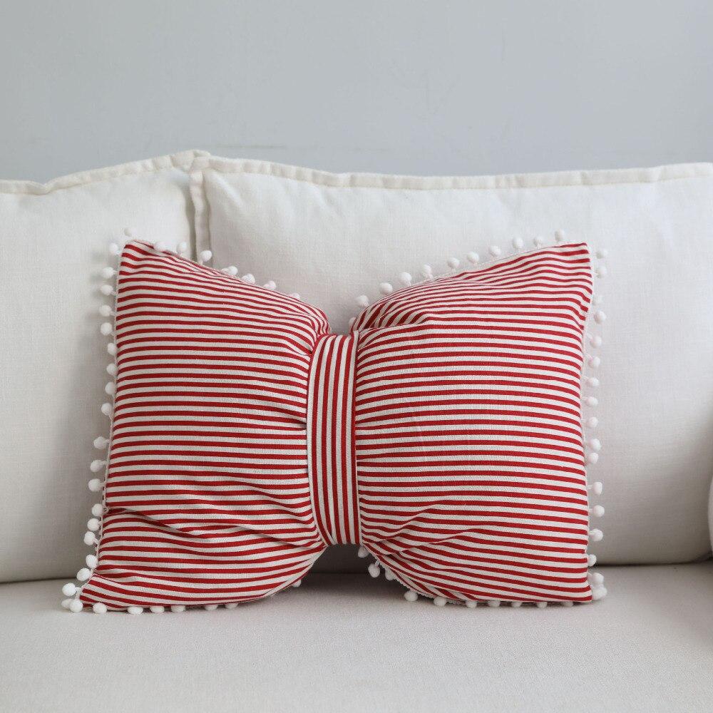 US $17.75 42% OFF|WLIARLEO Europe Sofa Cushion Throw Bowknot Shape 3d emoji  pillows Red Striped Use Seat,Car,Chair Home Decorative cushion 43x55cm-in  ...