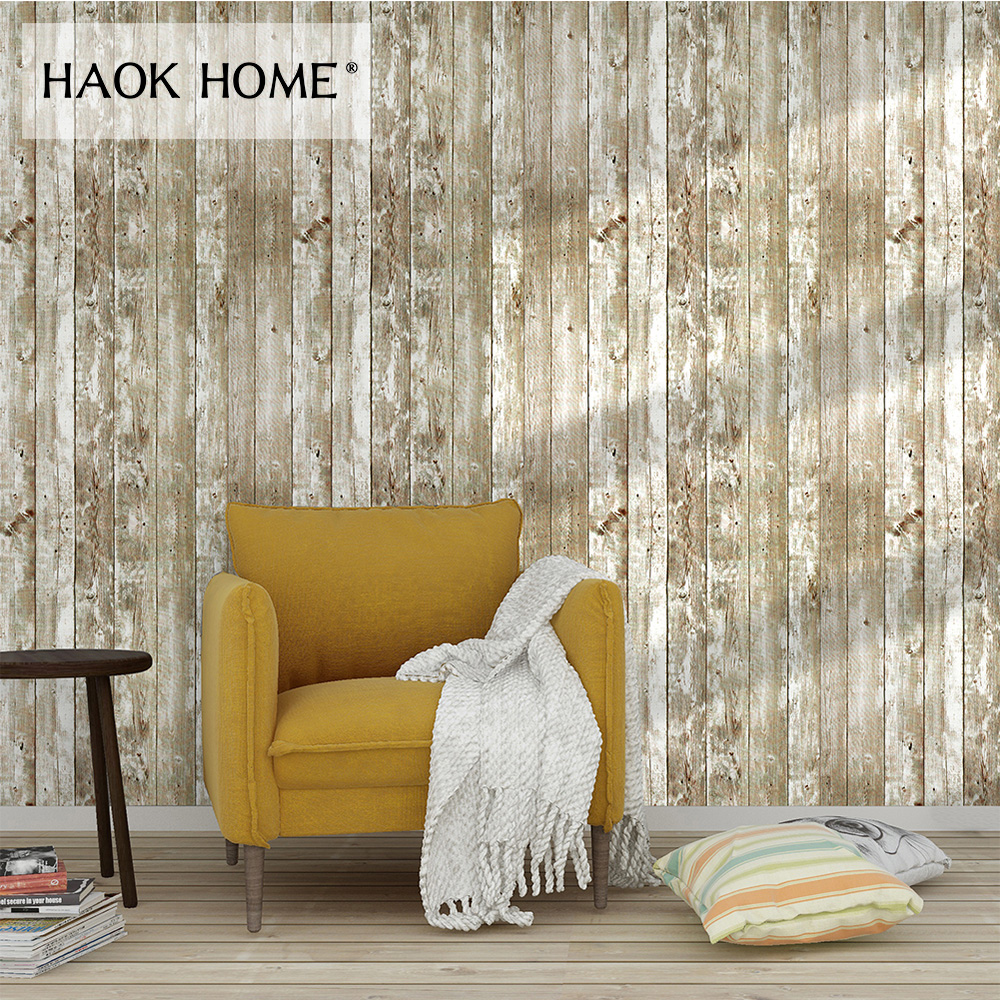 Haokhome rustic faux wood plank wallpaper peel and stick - Faux wood plank wallpaper ...