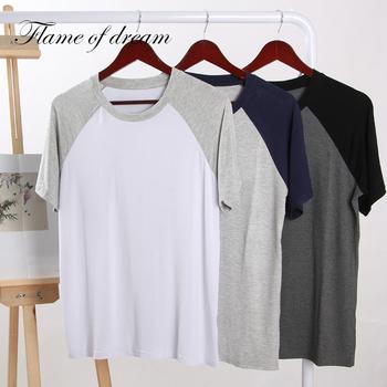 Modalne materiały śpiące ubrania męskie koszule nocne męskie męskie odzież do snu s męskie odzież do snu piżamy męskie 350 tanie i dobre opinie flame of dream Pełne Stałe Topy do spania Sukno