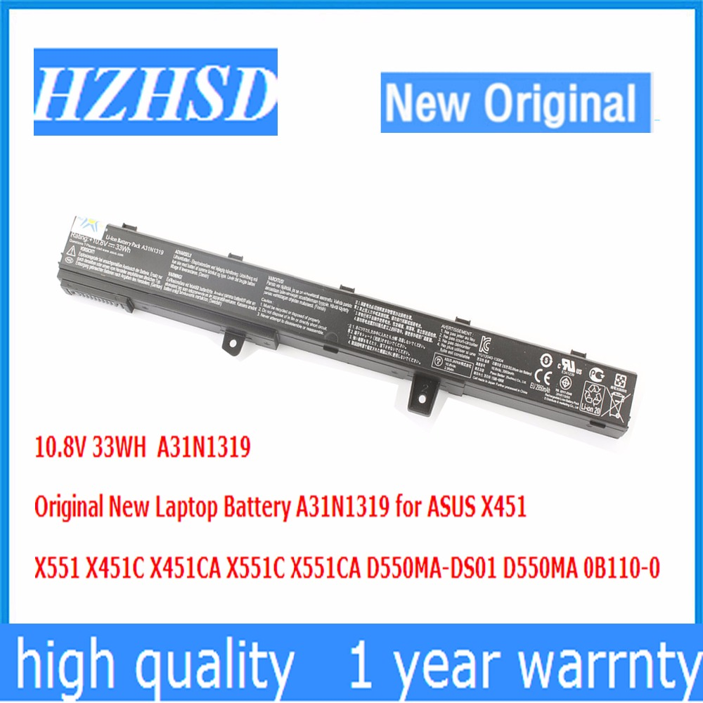 10.8V 33WH Original New A31N1319 Laptop Battery for ASUS X451 X551 X451C X451CA X551C X551CA D550MA-DS01 D550MA 0B110-0