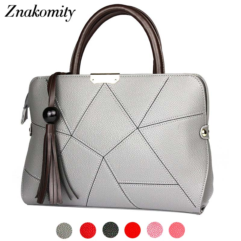 Znakomity Plaid tassel women hand bag fashion Diamond lattice leather shoulder bag women geometric Grey tote bag ladies handbags ...