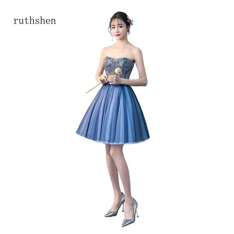 ruthshen Lovely Above Knee Length   Cocktail     Dresses   Sexy Party   Dresses   Illusion Mini Vestidos Coctel 2018 New Arrival Hot Sell