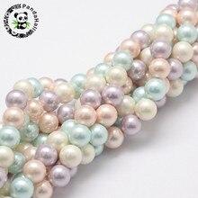"""8 Mm Ronde Shell Pearl Bead Strengen Voor Armbanden Oorbellen Kettingen Maken Grade Een Kleurrijke Gat: 1 Mm; ongeveer 54 Pcs/Strand, 16"""""""
