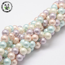 8mm Round Shell Pearl Bead Strands for Bracelets Earrings Necklaces Making Grade A Colorful Hole: 1mm; about 54pcs/strand, 16""
