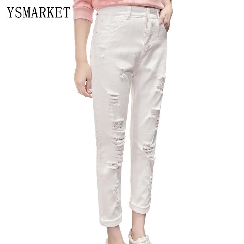 New 2017 Korean Boyfriend Casual Jeans White Solid   Womens Slim Trousers Sexy Hollow Out Hole Denim Stright Pants E869 denim zipper hollow worn stiletto womens sandals
