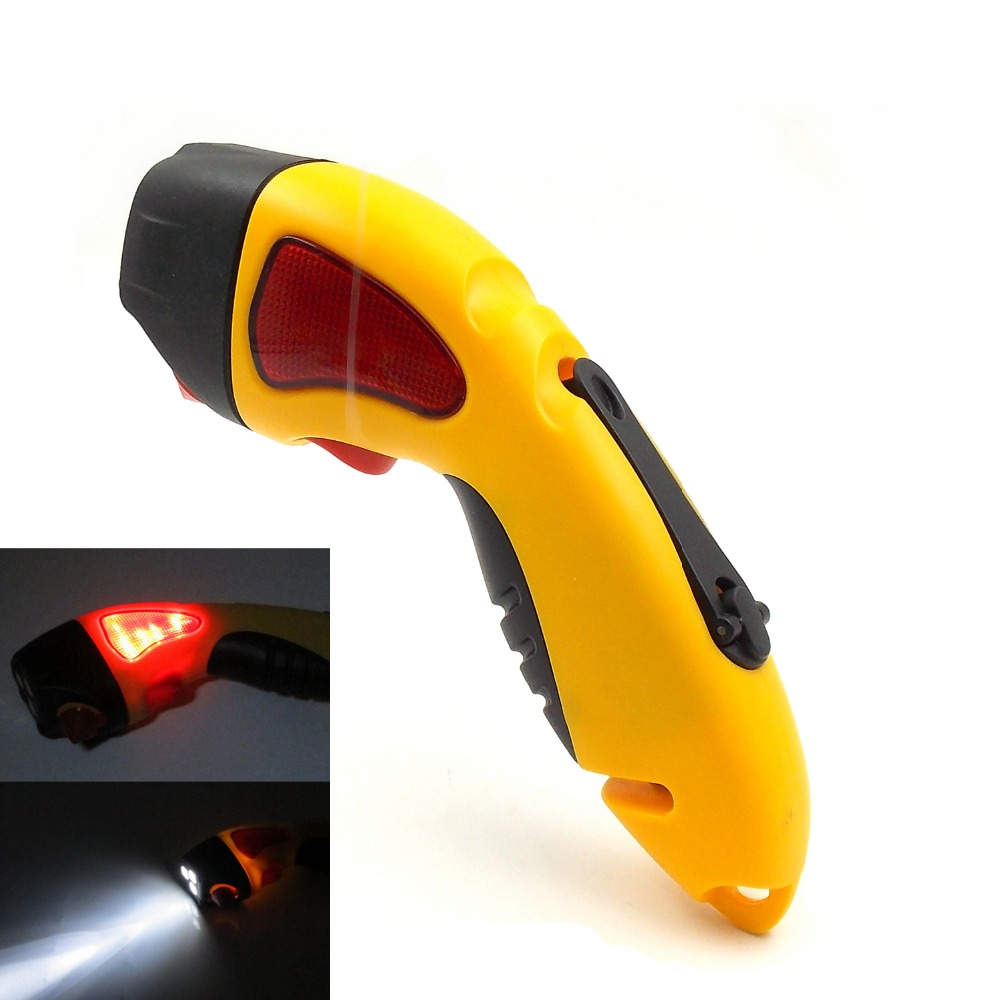 Waterproof Emergency Crank Flashlight with Wind Up Rechargeable LED lights, Window Breaker, Seatbelt Cutter, Red Light Flasher