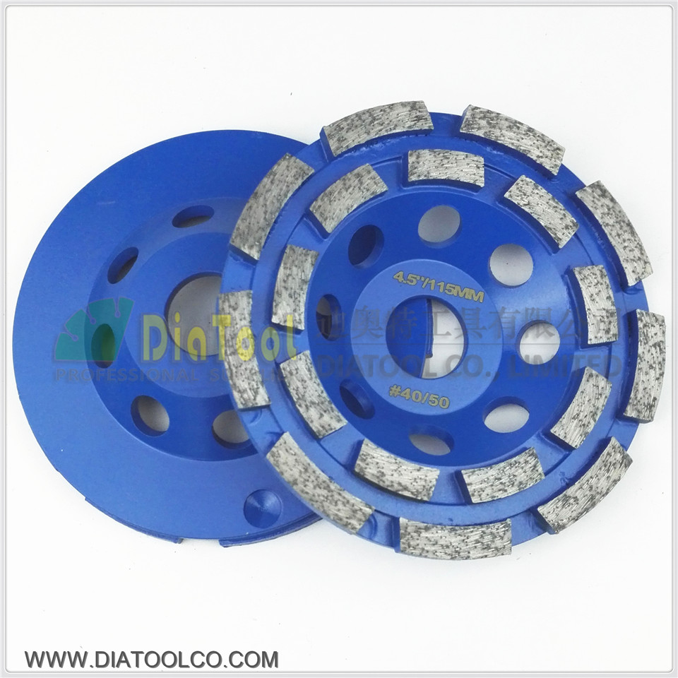 DIATOOL 2pcs 4.5/115mm Diamond Double Row Grinding Cup Wheel For Granite Hard Material Diameter Bore 22.23mm With 16mm Washer 2pcs 5inch diamond single row cup wheel for concrete masonry diamond grinding wheel diameter 125mm bore 22 23mm grinding disc