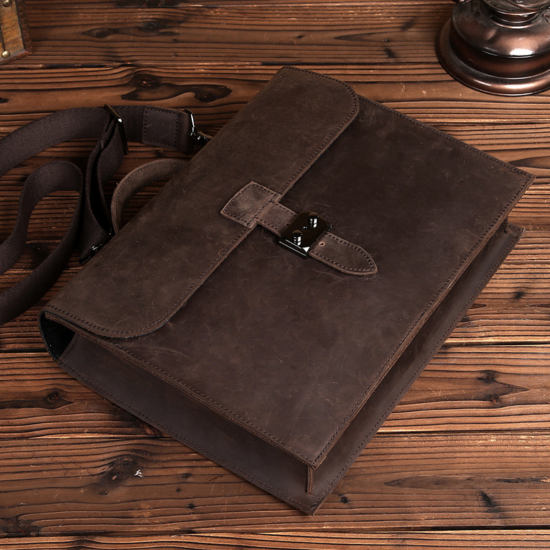 Men's Genuine Cowhide Leather Crazy Horse Cross Body Shoulder Briefcase Portfolio Casual Business Messenger Bag For Man LS0209 hot selling crazy horse leather man bag vintage casual first layer of cowhide handbag one shoulder cross body computer bag 0201