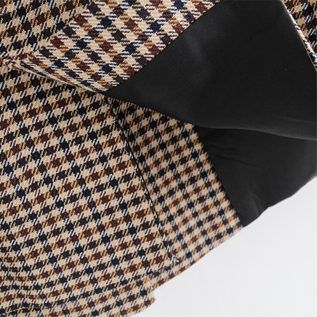 Women Elegant Plaid Blazer Suit Long Sleeve Double Breasted Slim Checked Coat Formal Office Work Jacket Houndstooth Outerwear 21