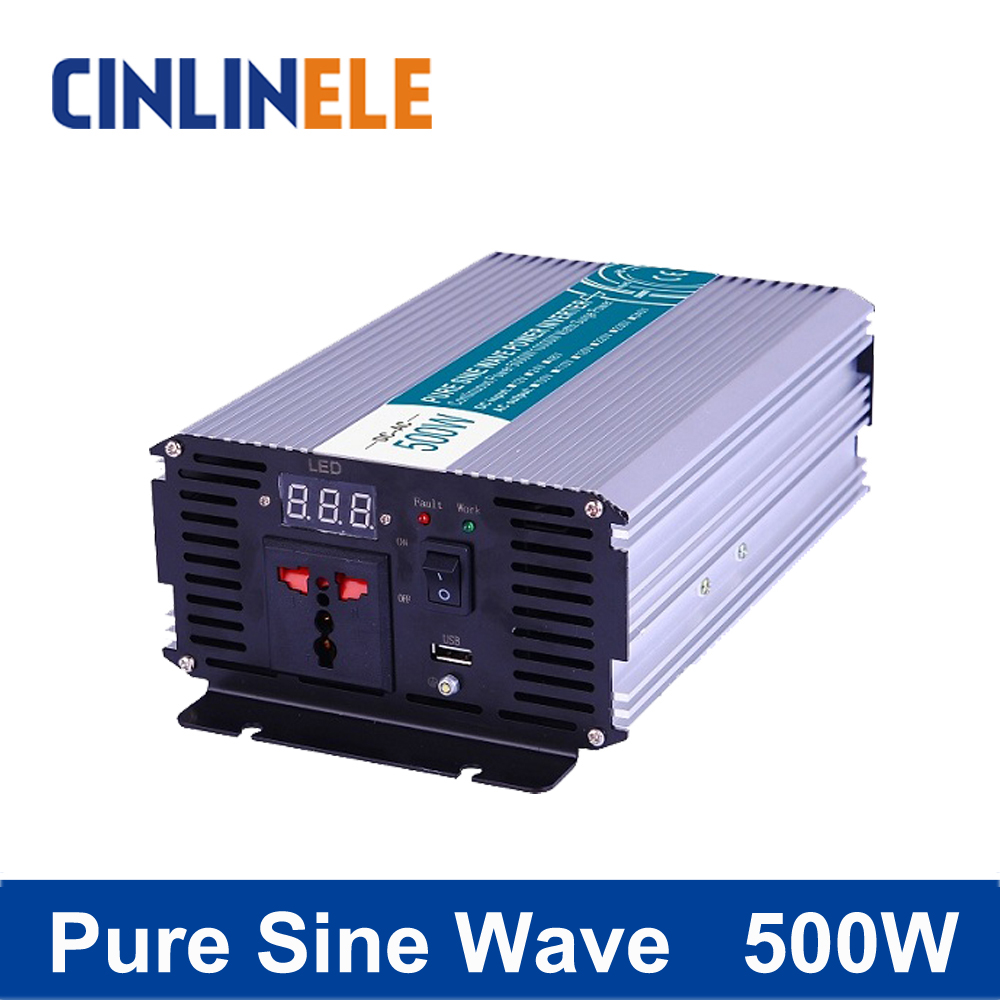 Smart Series Pure Sine Wave Inverter 500W CLP500A DC 12V 24V 48V  to AC 110V 220V 500W Surge Power 1000W new lp2k series contactor lp2k06015 lp2k06015md lp2 k06015md 220v dc