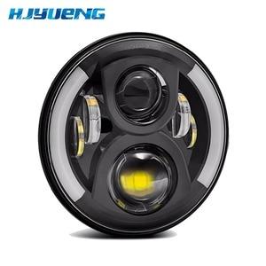 "Image 3 - 7""LED Headlight White Halo Car Angel Eyes DRL LED Projection Lens For Jeep JK LJ Tj Fj Cruiser Hummer MACK R Peterbilt Kenworth"