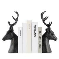 Черная смола головы оленя, фигурка Винтаж статуя домашнего декора ремесла кабинет украшения объекты фигурка животного голова оленя форзац