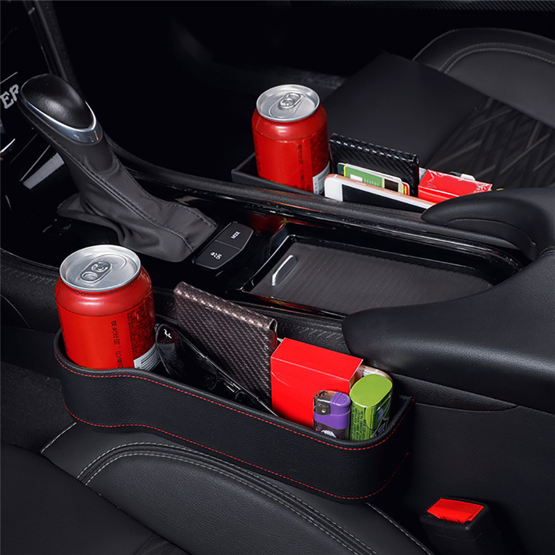 Caja de almacenamiento organizador de asiento de coche Gap PU caja de bolsillo de asiento de coche con abertura lateral para monedero monedas de teléfono llaves de cigarrillos tarjetas universal