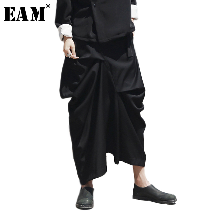 [EAM] 2018 Autumn Fashion New Irregular Fold Casual Loose Big Size Solid Color Ankle-length Pants Women YA12601