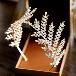 Image 2 - HIMSTORY Luxury Clear Crystal Olive Branch Wedding Headband Tiaras Crown Wholesale Hairband Princess Hair Accessories