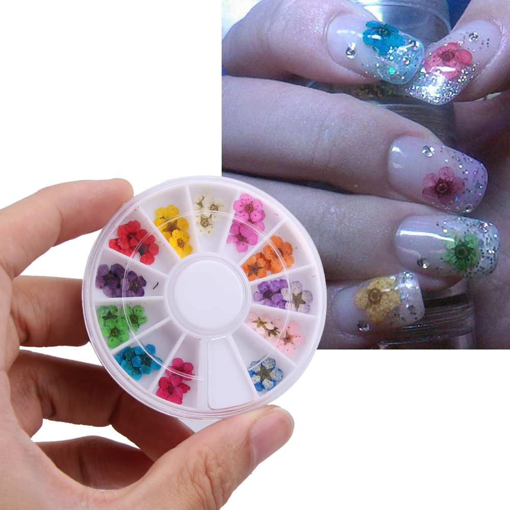36pcs 12 Color Dried Flower for Nail Art Decorations Natural Nail Dry Flowers Wheel Stickers Decals DIY 3D Manicure Tips Decal hot sale 12 styles pink flower designs 3d art nail stickers woman diy nail art decorations tip nail vinyls decals