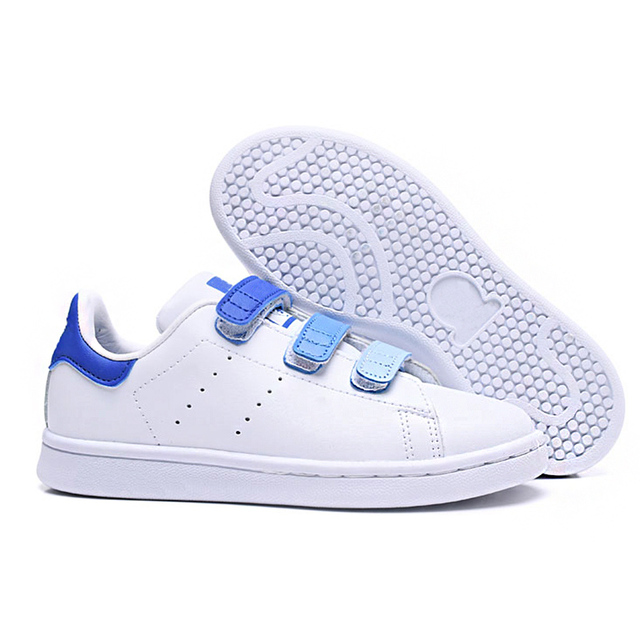 Brand 3 Striped Top Quality Boys Girls Sneakers Skateboard Shoes Colorful Hook&Loop Anti-slippery Children Kids Casual Shoes
