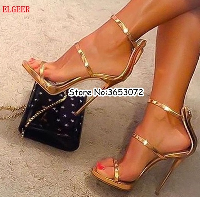 Sexy gold silver black high heels tringle open toe ankle strap heels sandals  beautiful women pumps stilettos party dress shoes 9a5f25cfe00c