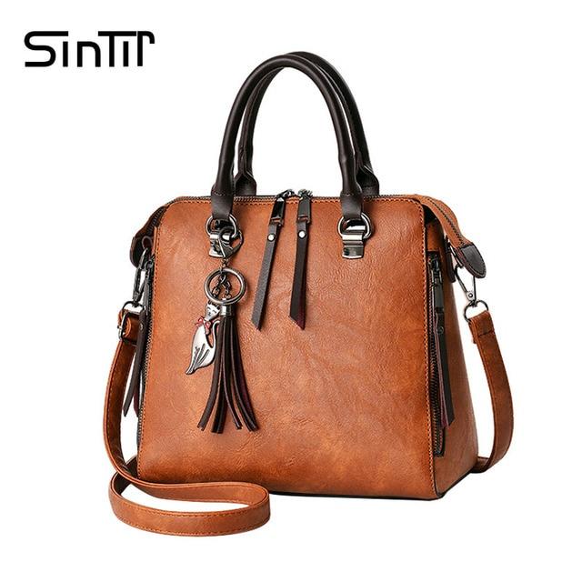 07fa1a7e803f US $16.91 54% OFF|SINTIR 2017 Fashion Tassel Women Shoulder Bags Large  Capacity Casual Leather Women Handbag Rivet Zipper Crossbody Bags for  Women-in ...