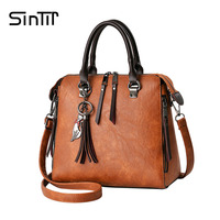 SINTIR 2017 Fashion Tassel Women Shoulder Bags Large Capacity Casual Leather Women Handbag Rivet Zipper Crossbody