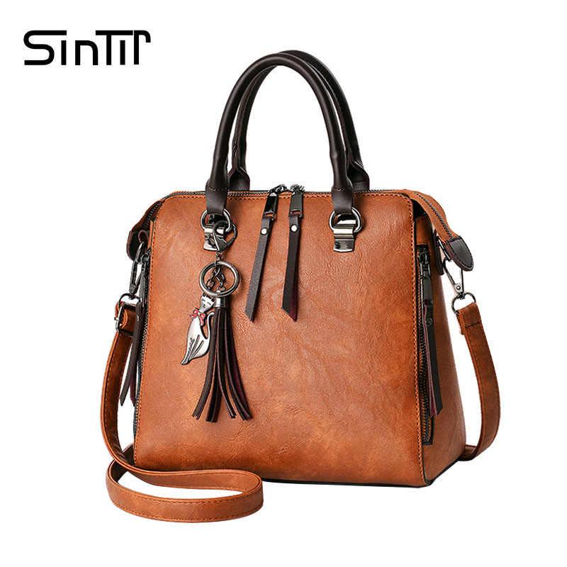 c3250307f382 SINTIR 2017 модная кисточка женская сумка на плечо большой емкости  Повседневная кожаная женская сумка с заклепками