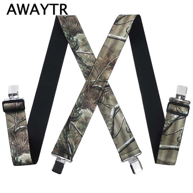 AWAYTR 2018 New Mens Print Suspenders Unisex Adult 4 Clips Buckle Suspenders 5*125cm Belt Adjustable Shirts Braces Fashion