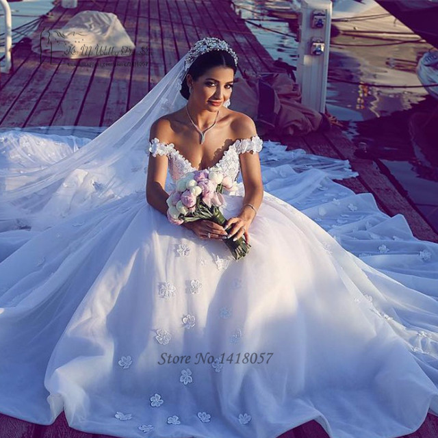 e8c5b3152 مثير القوطية فساتين الزفاف العربية تركيا زهرة قبالة الكتف الأميرة العروس  اللباس 2017 الرباط أثواب الزفاف
