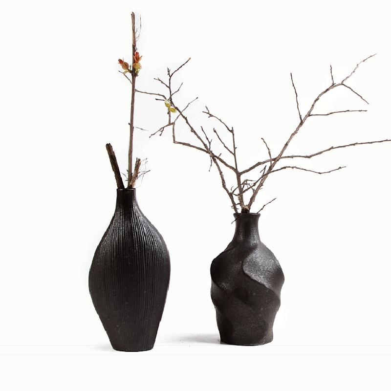 Home Decoration Small Porcelain Pots Retro Stoneware Dried Flower Vase Floral Pottery Ornaments Teahouse Decor Landing