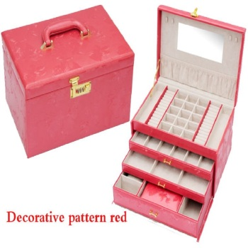 watch box earrings necklace pendant jewelry organizer jewelry display shelf packing gift box smooth pink