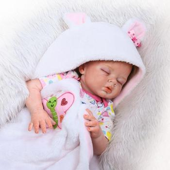 22inch NPK Collection silicone Newborn Baby Doll Lifelike reborn real touch girl  half cloth body doll For Kids Birthday Gift