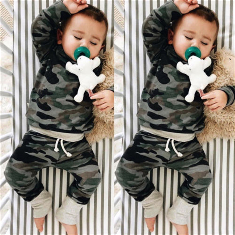 2PCS Casual Baby Boy Camo Clothes Set 2018 New Hot Sale Toddler Boy Hooded Tops+Pants Baby Boy Camouflage Clothes Set Tracksuit
