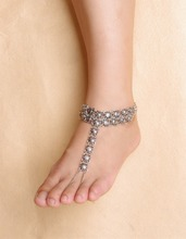 Bohemian  Boho Turkish Silver Antalya Metal Flower Anklet Bracelet Gypsy Foot Sandal Beach Ankle Chain