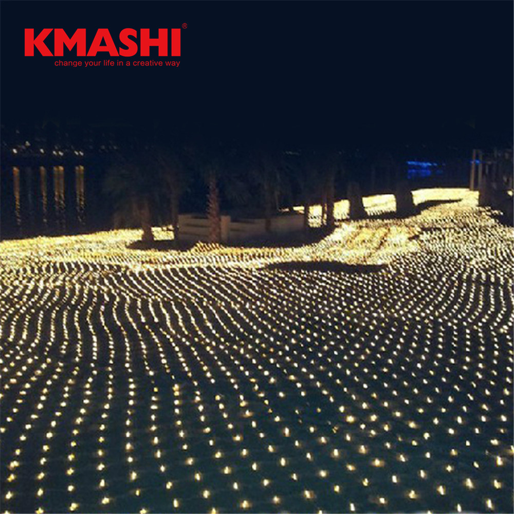 Kmashi 6Mx4M 672 Led Fairy Net Lights Festival Net Mesh String Xmas Party Wedding Christmas Lights Outdoor Decoration Lighting
