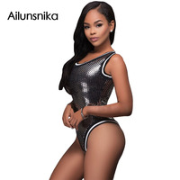 Ailunsnika 2017 Summer Women Sexy Silver Wet Look Metallic Sequin Rompers Bodycon Spandex Bodysuit DL32104