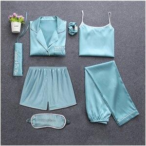 Image 4 - Sexy 7 pieces conjuntos de pijamas primavera ternos de sono feminino macio doce bonito pijamas presente casa roupas das mulheres pijamas pijamas