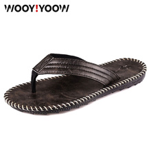 Summer fashion mens flip-flops British cool and non-slip breathable slippers Flip-on slip Flat beach shoes