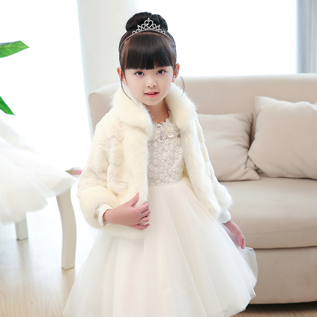 b7e810b028 Winter Girls Cape Short Jacket Princess Party Wool Cloak Girls Faux Fur  Bolero Shrug Wedding Jacket for Flower Girl Dress