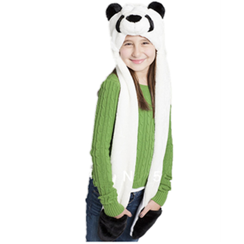 Cosplay Plush Cartoon Panda Hats With Ear Flaps Fluffy Soft Warm Animal Hat For Men Women Scarf Gloves Winter Cap Free Shipping