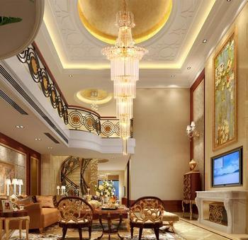 Con buena escalera cristal colgante luz escaleras hotel ingeniería luces cristal colgante lámparas SJ15 luz ya74