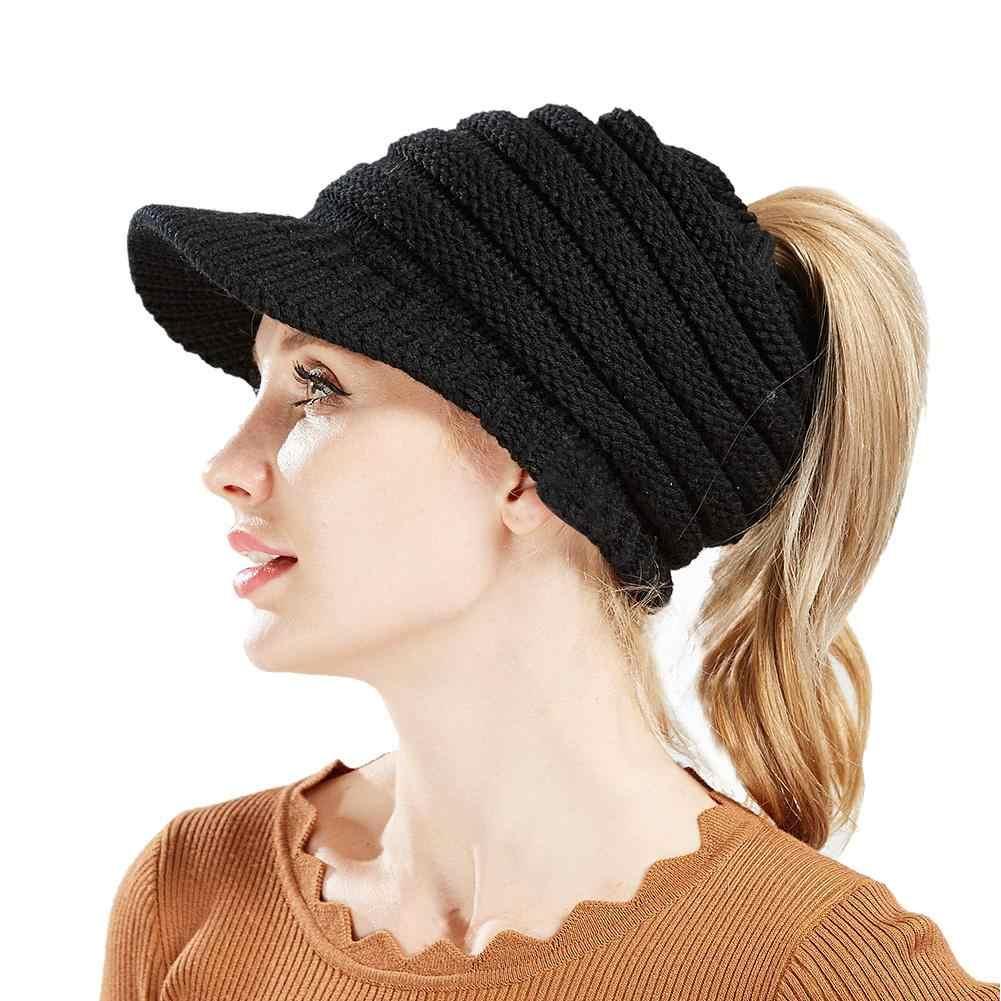 28e202e8c5c3c0 ... Ponytail Beanie Hat Women Crochet Knitted Cap Winter Skullies Beanies  Warm Visor Caps Female Knitted Stylish ...