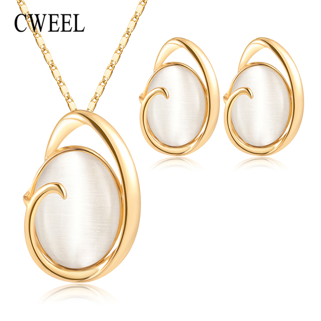 CWEEL Fashion Jewelry Sets Opal Wedding Jewellery Sets For Brides