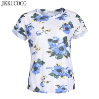 JKKUCOCO 2017 Newest Style Women T Shirt Flowers Print Nice Tees Short Sleeve Summer T Shirt