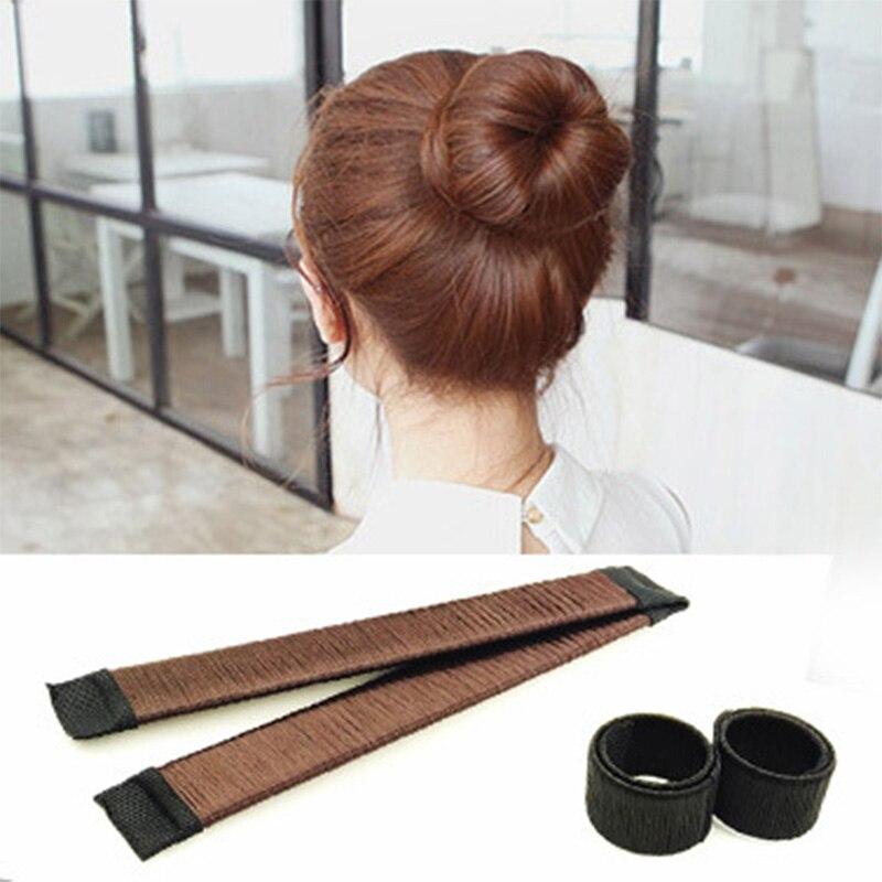 1 adet kadınlar sihirli tatlı yemek Diy saç aracı hızlı Bun Maker tomurcuk Hairbands kızlar sentetik peruk çörek kafa bantları saç aksesuarları