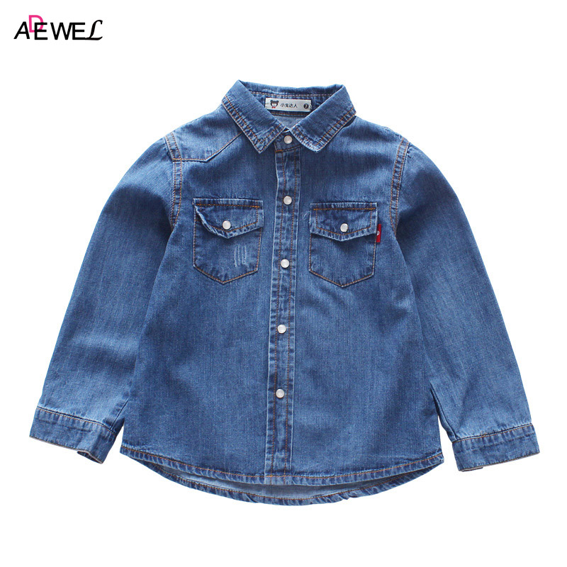 все цены на Classic Denim Kids Shirts 1 2 3 4 5 6 7 Year Boys Girls Tops Shirts Clothes Long Sleeve Spring Autumn Children School Costume