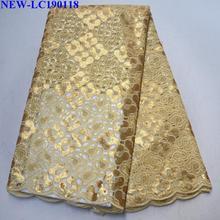 Высокое качество Французский нигерийский тюль с блестками Fabirc африканский тюль сетки блесток органзы кружевной ткани для свадебного платья HG-002