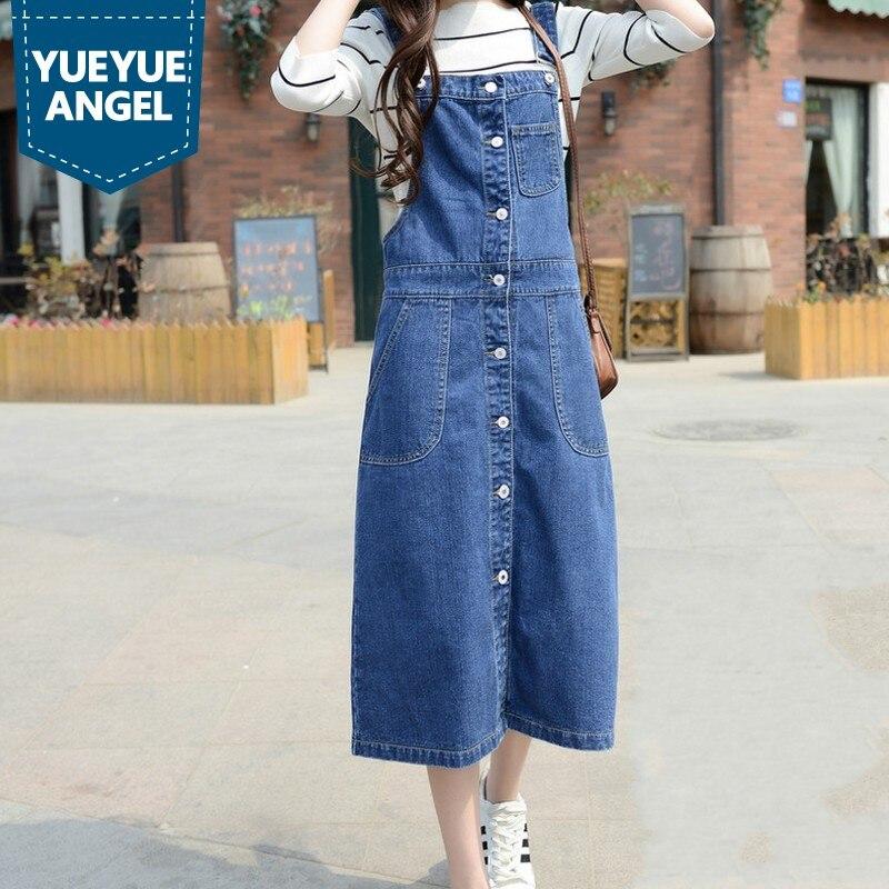 Grande taille femmes Denim robe bleu lâche sans manches Spaghetti sangle longue Jeans robe 2019 été simple boutonnage robes décontractées