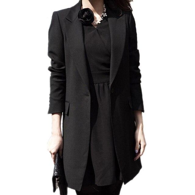 2016 New Spring Blazer Outwear Women Casual Lapel Collar Long Sleeve Single Button Solid Black OL Work Long Coat blaser feminino