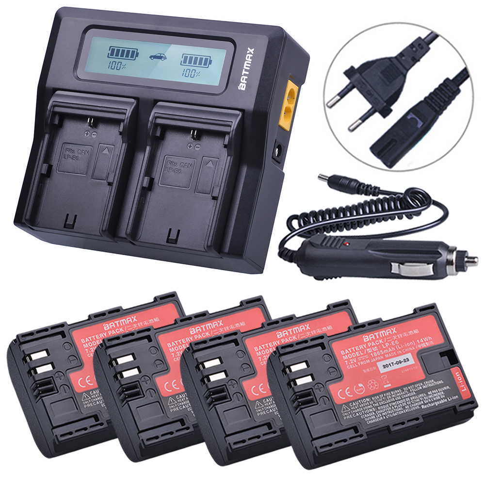 4Pcs 18650mAh LP-E6 LP-E6N LP E6 E6N Battery made with Sanyo Cell + Rapid LCD USB Charger for Canon EOS 5D Mark II III 7D 60D 6D camera battery grip pixel bg e20 for canon eos 5d mark iv dslr cameras batteries e20 lp e6 lp e6n replacement for canon bg e20